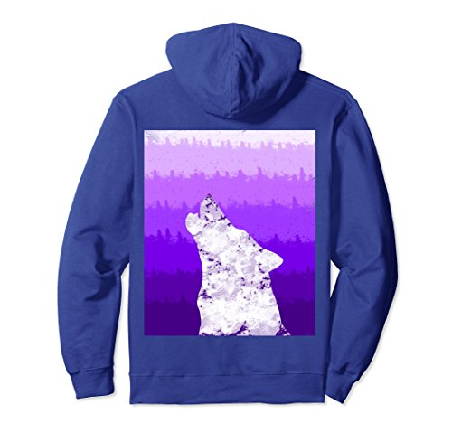 Unisex Wolf hoodie Purple Watercolor Gradiant Animal pull over Small Royal - Blue Gradiant