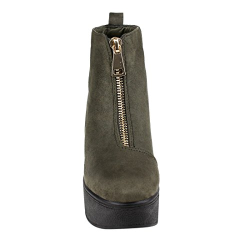 One Size Ankle Platform Half Booties Small Wedge EJ35 Zipper and Olive BESTON Women's xFBOp0qFv