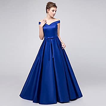 3ff657511 KeKaFu Ball Gown Off-the-shoulder Floor Length Satin Bridesmaid Dress with  Pleats by