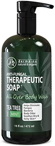 Antifungal Antibacterial Soap & Body Wash - Natural Fungal Treatment with Tea Tree Oil for Jock Itch, Athletes Foot, Body Odor, Nail Fungus, Ringworm, Eczema & Back Acne - For Men and Women - 16oz