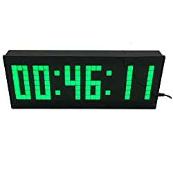 BTBSIGN Large LED Wall Clock with Wireless Remote Count Down/Up in Hours Minutes Seconds Stopwatch Green 6Digits