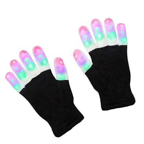 Ameesi Party Rave LED Flashing Gloves Glow Light Up Finger Lighting Halloween Gloves - Black + White -