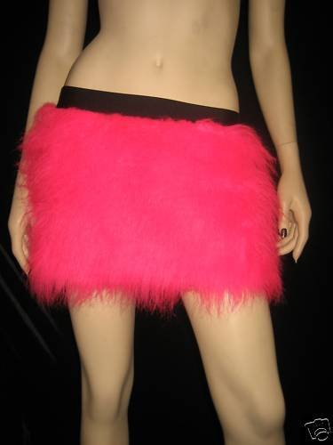 Furry Skirt (Hot Pink Neon Fluffy Furry Skirt Covers Party Rave Clubwear Halloween Dance Christmas)