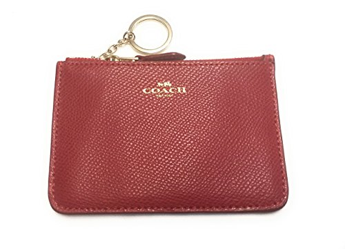 Coach Crossgrain Leather Coin Case w Key Chain 64064 / True Red