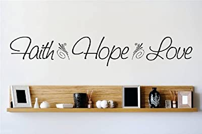Decal – Vinyl Wall Sticker : Faith Hope Love Quote Home Living Room Bedroom Decor DISCOUNTED SALE ITEM - 22 Colors Available Size: 10 Inches X 40 Inches