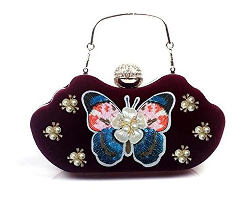 Party Shoulder Dress Women Evening Velvet wine Handbag Clutch red Wedding Bags NVBAO nI4qwzTZn
