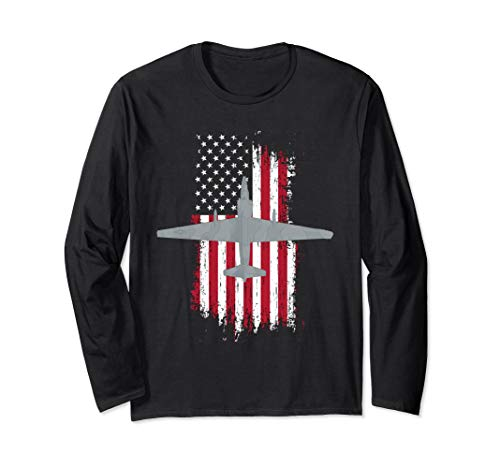 U-2 Dragon Lady Spy Plane American Flag Military Shirt Long Sleeve T-Shirt