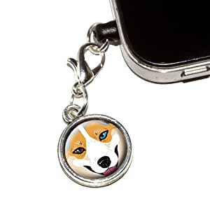 Graphics and More Blue Merle Tri Cardigan Welsh Corgi Face - Dog Anti-Dust Plug Universal Earphone Headset Jack Charm for Mobile Phones - 1 Pack - Non-Retail Packaging - Antiqued Silver