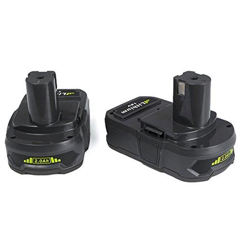 Ryobi P108 Ersatzakku, FLAGPOWER Werkzeug Batterie für Ryobi ONE+ P107 P122 P104 P105 P102 P103 18V 2000mAh Li-ion Akku LED Anzeige (2 Stück)