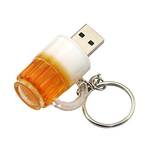 Usbkingdom 16GB 16G Cartoon Beer Cup Shape Gift USB keychain Flash Drive USB Flash Disk Pen Drive Memory Stick Pendrive