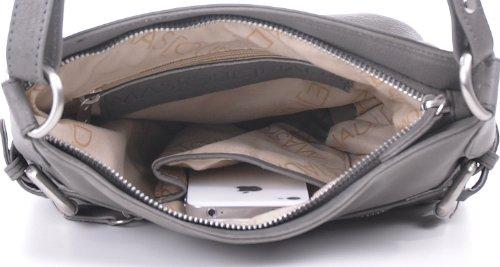 Masquenada - Bolso cruzados de cuero para mujer gris Mittelgrau, Grau