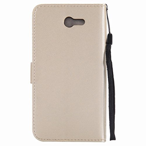 Yiizy Samsung Galaxy J7 (2017) Funda, árbol De Dibujo Design Premium PU Leather Slim Flip Wallet Cover Bumper Protective Shell Pouch with Media Kickstand Card Slots (Dorado)