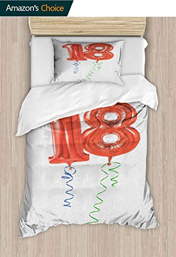 PRUNUS-Home 18th Birthday Cotton Bedding Sets,Flying Party Balloons with Curly Ropes 18 Years Old Image Art Print Kids Bedding-Does Not Shrink or Wrinkle 39