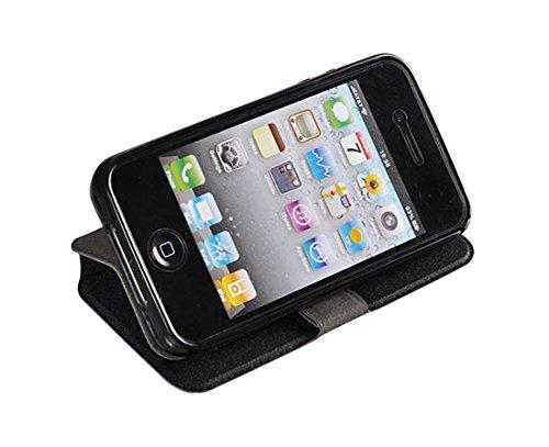 BOOK CASE 3 weiß für Iphone 5SE/6C Cover Handy Tasche Flipcase Etui FLEXI Buchform Kunststoff TPU Halterung für Kreditkarten