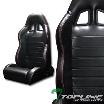 Topline Autopart 2X Sp Sport Black Pvc Leather Red Stitch Reclinable Racing Bucket Seats Slider T01 (900 Series Quantum Chair compare prices)