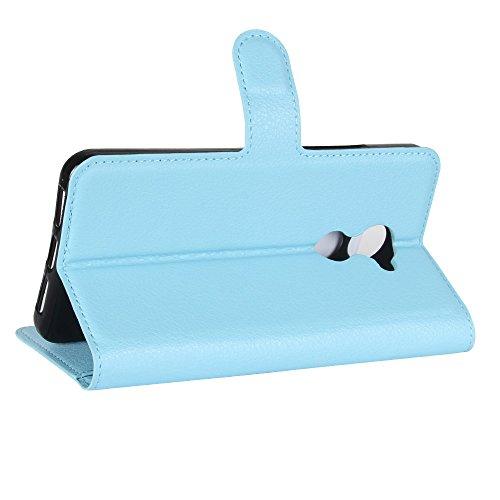 COVO® PU+TPU Faux Cuero Billetera Funda + 1 Protector de Pantalla de Cristal para Vodafone Smart V8 con Stand Función(Negro) Azul