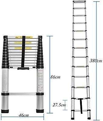 DlandHome 3,8M Escalera telescópica de aluminio escalera plegable escalera multifunción fácil de transportar capacidad máxima de carga 150 kg: Amazon.es: Bricolaje y herramientas