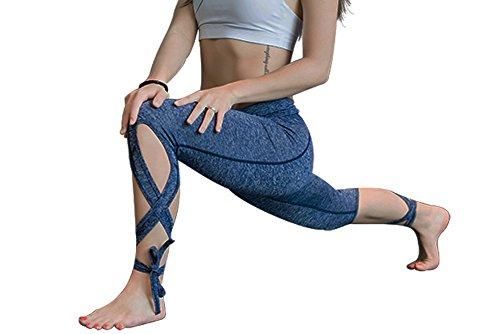 Mens Instant Western Kit (Womens Fashion Running Leggings Yoga Gym Ninth Pants With Ballet Ribbon Design (S, Blue))
