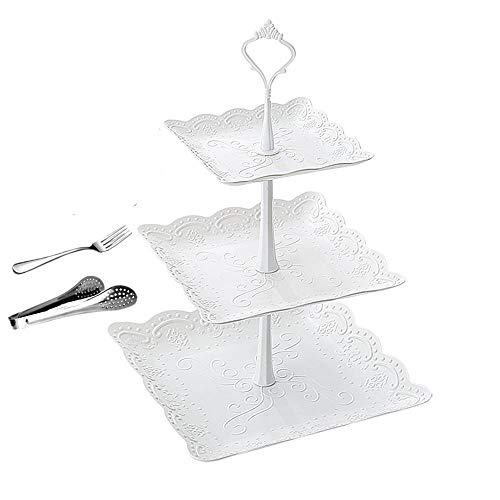 Cupcake Stand and Towers 3 Tier White Pastry Dessert Stand for Party Wedding Plastic Square Serving Platter Tea and Trays Set