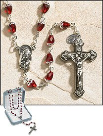 24 Inches Long, 2 Inches Crucifix Ave Maria Ruby Tears of Mary Rosary, 10 X 6 Mm Crystal Bead