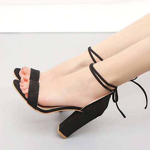 Lolittas High Block Heel Sandals for Womens Leather Black Size 2-10,Summer Wedding Bridal Strappy Wide Fit Peep Slingback Toe Lace up Outdoor Shoes Black