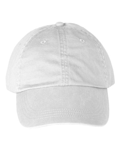 Anvil 6-Panel Pigment-Dyed Twill Cap, White, OS