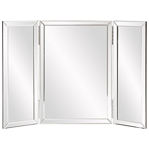 Howard Elliott Tripoli Trifold Beveled Vanity Table Top Mirror, 31 Inch Wide x 21 Inch Tall