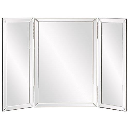 Howard Elliott Tripoli Trifold Vanity Mirror 3 Way Tabletop Bedrooms, Bathroom, Makeup Portable Cosmetic Makeup Mirror with Beveled Edges Tri-fold Mirror, 31 Inch x 21 Inch