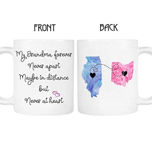 Grandma Long Distance State Mug with Quote, Personalize, All states, Countries and Provinces, 11oz or 15 oz