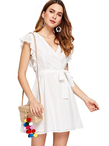 Romwe Women#039s Elegant Ruffle Trim Eyelet Embroidered V Neck Wrap Short Dress