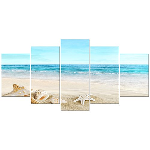Pyradecor Sea Shells Giclee Canvas Prints Modern Seascape Artwork Landscape Pictures Paintings on Stretched and Framed Canvas Wall Art for Home Decor Extra (Art Oil Painting Contemporary Seascape)