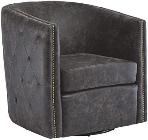 Signature Design by Ashley Brentlow Accent Swivel Chair, Distressed Black