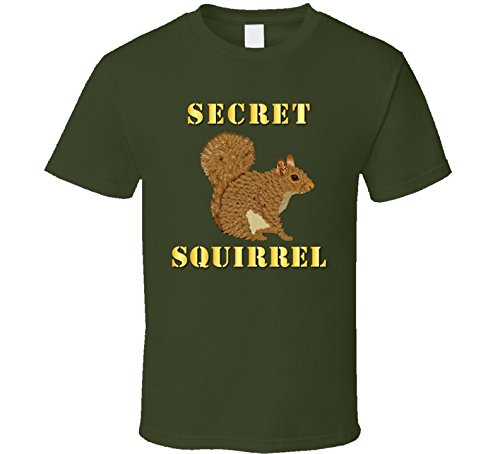 3XLARGE - Emblem - Secret Squirrel With Text T Shirt - Military Green