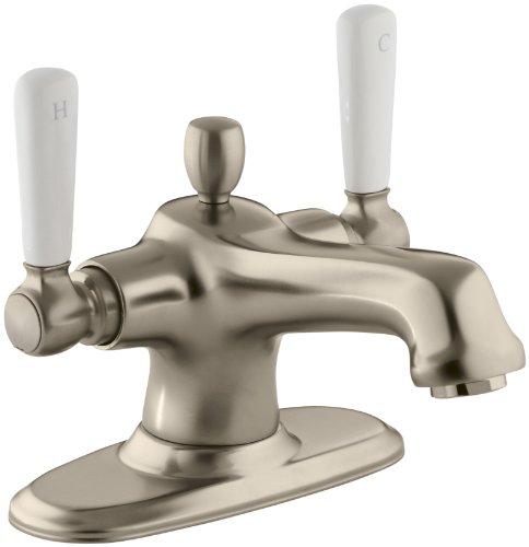 (KOHLER K-10579-4P-BV Bancroft Monoblock Lavatory Faucet with White Ceramic Lever Handles, Vibrant Brushed Bronze)