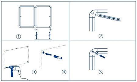 67x50cm Swansea Bacheca in Sughero con Serratura per Interni in Alluminio 4xA4 8 Puntines