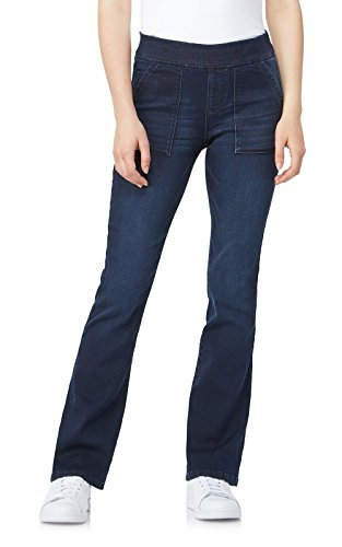 WallFlower Women's Juniors Elastic Waistband Pull On Bootcut Jeans in Moody Blue, Small by WallFlower