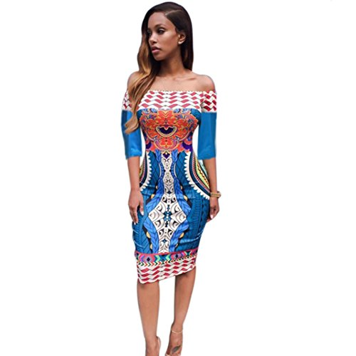 [XUANOU Women Ethnic Style Traditional Print Strapless Sexy Half Sleeve Slim Dress (Small)] (Ethnic Hats)