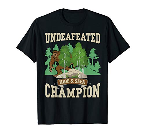 Funny Bigfoot Yeti Undefeated Hide & Seek Champion T-Shirt