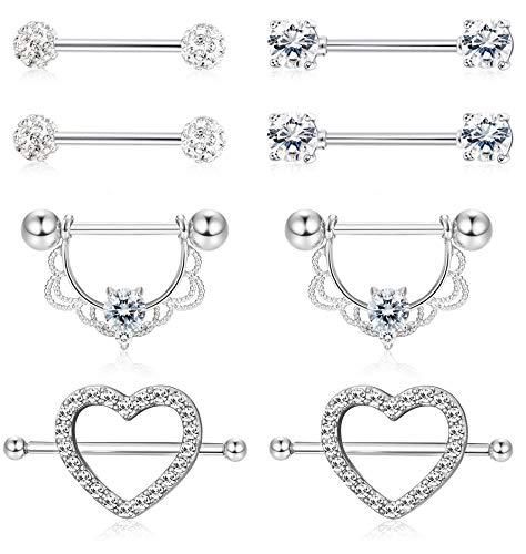 ORAZIO 4 Pairs 14G Stainless Steel Nipplerings Nipple Tongue Rings CZ Opal Barbell Body Piercing Jewelry Silver Tone