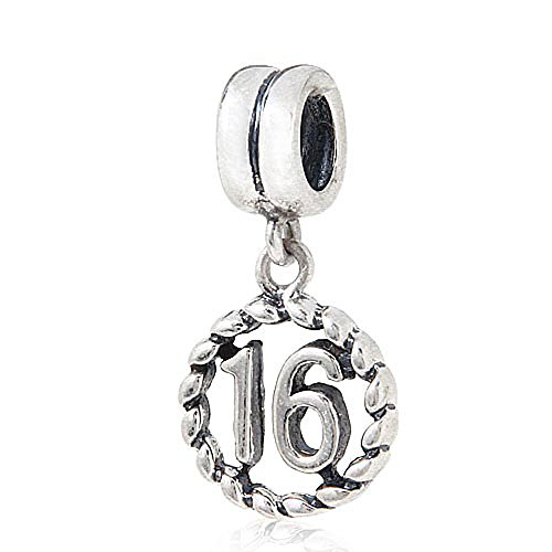 Ollia Jewelry 925 Sterling Silver European Style Dangle Beads Lucky Number 16 Charm My Sweet Sixteen Charm Wonderful Time Charms (Sterling Charm Silver 16 Sweet)
