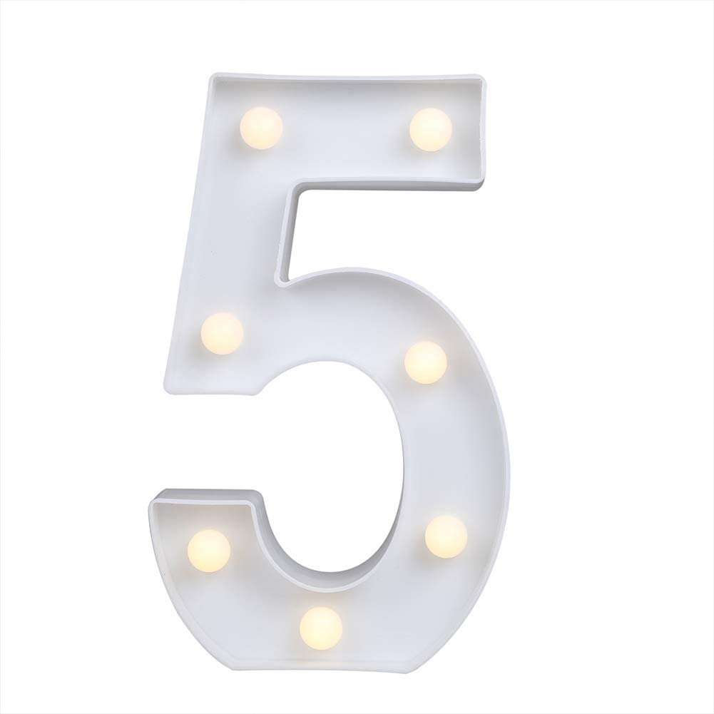 MUMUWIND Decorative Led Light Up Number Letters, White Plastic Marquee Number Lights Sign Party Wedding Decor Battery Operated Number (5)