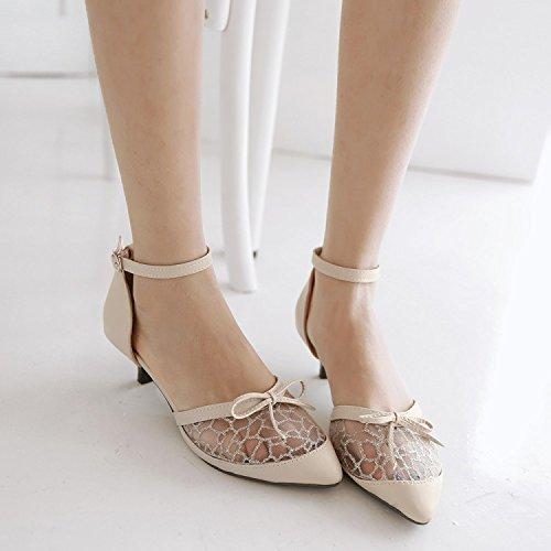 Encaje Vent Plumín hebilla de los zapatos con los zapatos de los zapatos de Baotou tamaño de los zapatos tamaño de los zapatos Beige