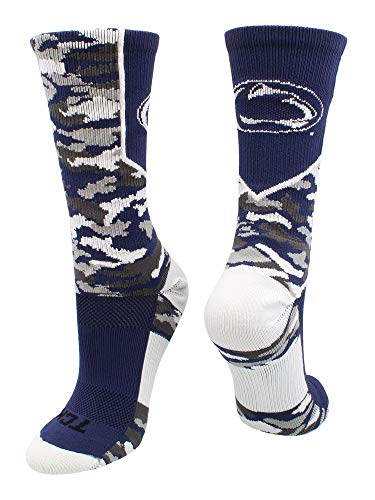 TCK Sports Penn State Nittany Lions Woodland Camo Crew Socks (Blue/White/Grey, - State Penn Athletics