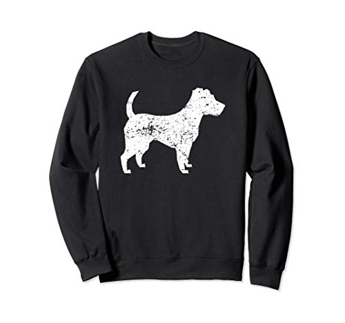 Distressed Jack Russell Terrier Silhouette Dog Owner Sweatshirt (Terrier Dog Sweatshirt)