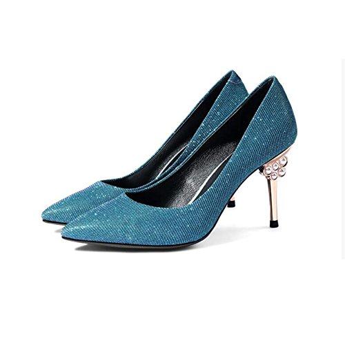 DALL Escarpins Ly-673 Confortable Et Stable Chaussures Pour Femmes Tête Pointue Talons Hauts Sandales Printemps Et Été 8,5 Cm De Haut (Couleur : Silver, taille : EU 37/UK 4.5-5/CN37) Bleu