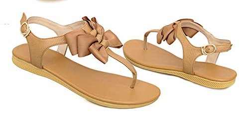 Strap Flip Beige Womens CHFSO Buckle Korean Sandals Thong Flops T qfXt6