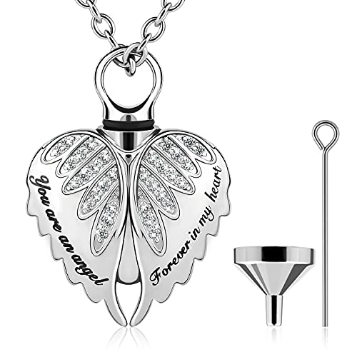 Pinsparkle Cremation Jewelry Angel Wings Necklace Urn Necklace for Ashes Keepsake Memorial Necklace Stainless Steel-You are an angel,Forever in my heart with Funnel Kit and Gift Box