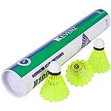 KEVENZ 12-Pack Advanced Nylon Feather Shuttlecocks,77 Grains-High Speed Badminton Balls (Yellow,Nylon)