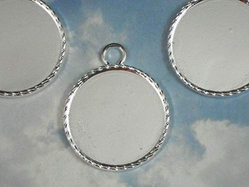 (Lot 5 Bezel Settings Pendants Rope Edge 32mm Mounting Tray Round Silver Tone Vintage Crafting Pendant Jewelry Making Supplies - DIY Necklace Bracelet Accessories CharmingSS)