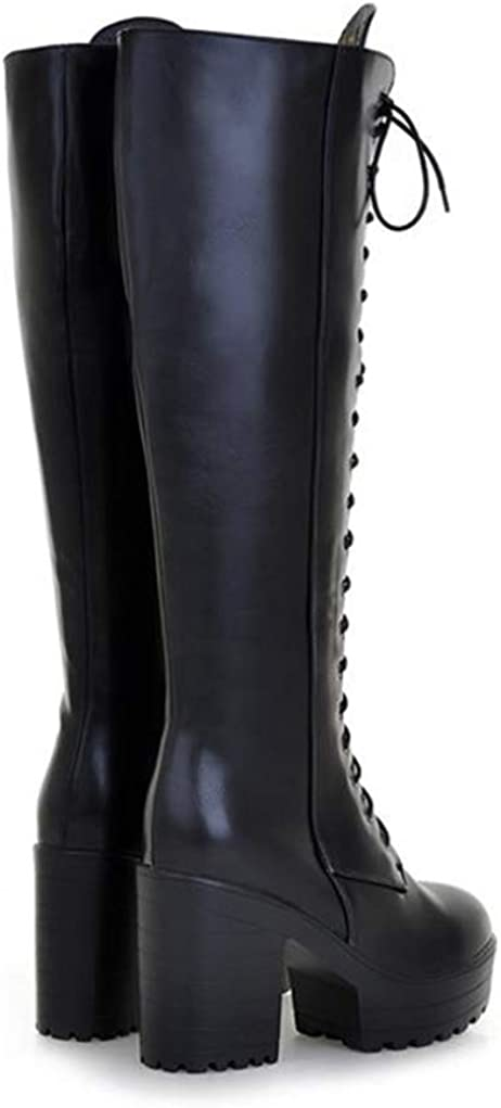 Details about  /Womens Chunky Heels Square Toe Zipper Front Knee High Riding Boots Shoes 34//43 L